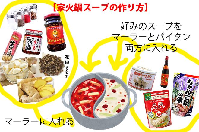 家火鍋「市販の火鍋の素」を買わない簡単スープレシピ!!